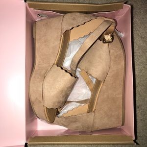 Charlotte Russe Shoes - Charlotte Russe taupe wedges